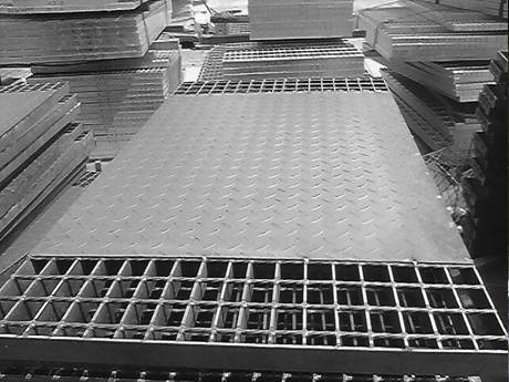 Several compound steel grating stacked together.