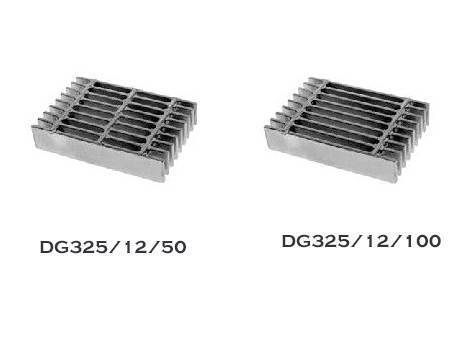 There are two dense steel grating in the picture, one of them with two cross bars, the other with three cross bars.