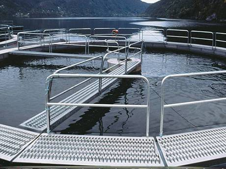 In a small fishing ground, diamond-strut safety grating is used as a bridge.