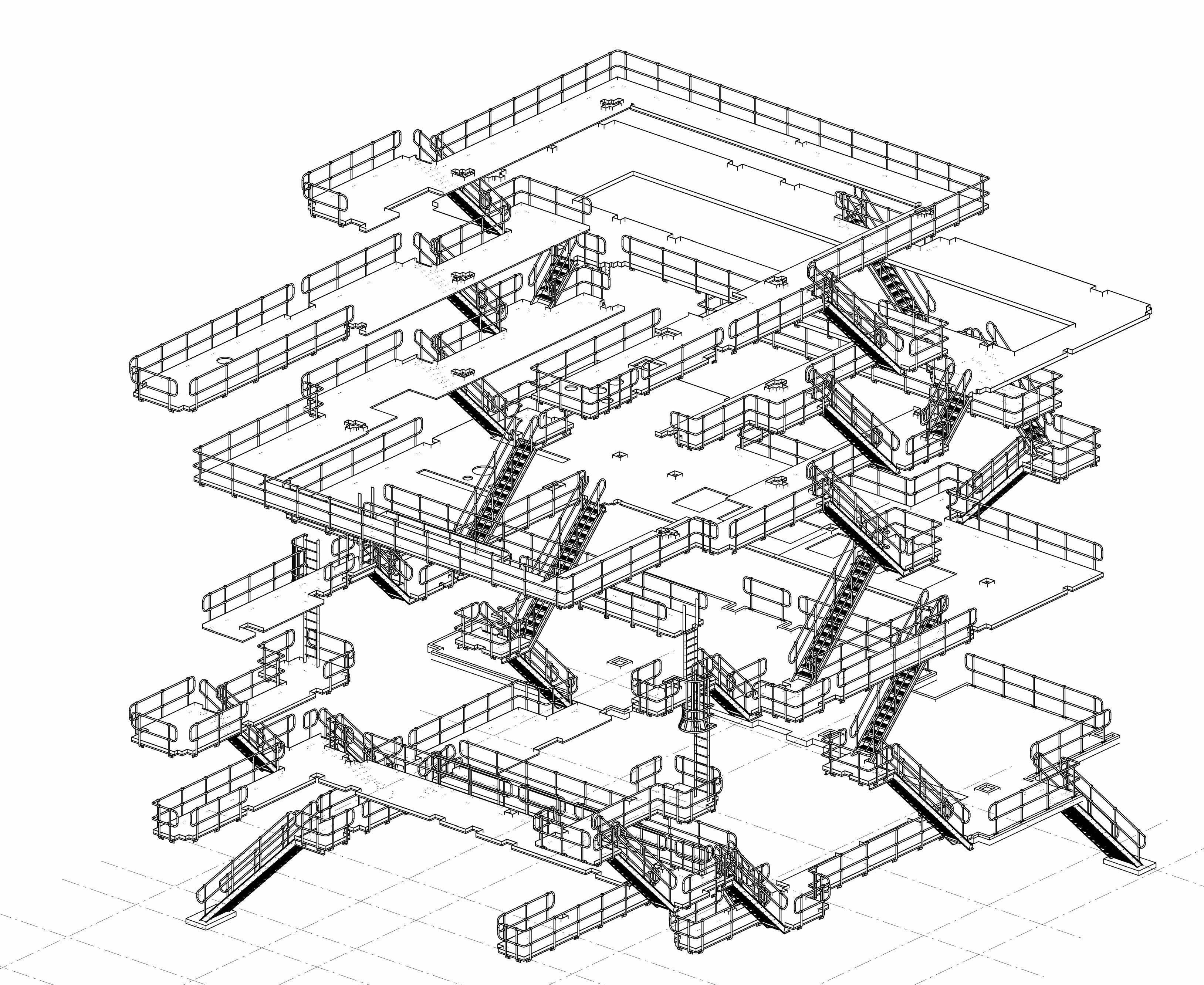 The first 3D view of stair treads and hand railings layout