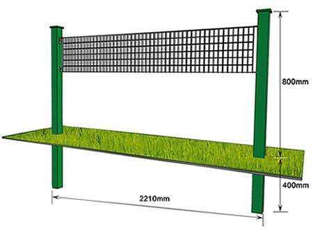 The structure of steel grating fence is similar to volleyball net but a piece of glass embedded below.