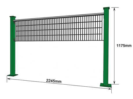 The structure of steel grating fence similar to volleyball net.