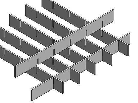 A press locked steel grating with smooth surface is in the picture.