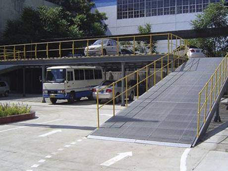 Serrated welded steel grating used as walkway for people to control speed.