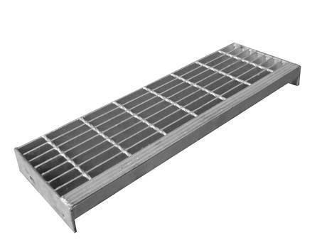 焊接楼梯踏板钢格板与垂直条状板突缘。