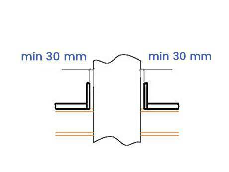 Schematic diagram shows the minimum 30 mm distance between steel grating and barrier.