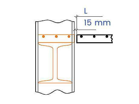 Schematic diagram shows 15 mm distance between the edge of steel grating and the edge of support.