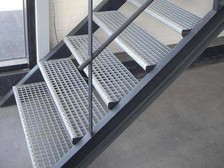 This is a steel grating stair in the house.