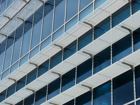 An office building with the steel bar grating sun Shade Panel.