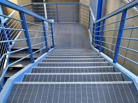 This is swage-locked grating floor and stairs in the factory.