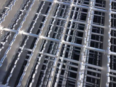 This is swage-locked grating with serrated surface.