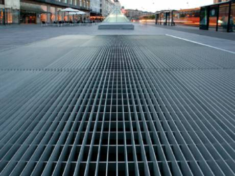 This is street with swage-locked grating walkway.
