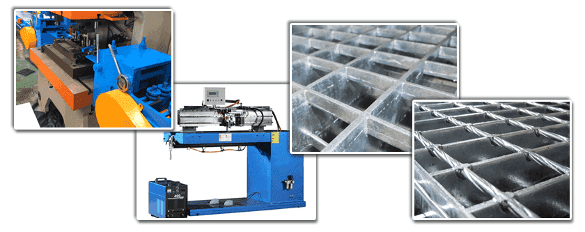 A composite image with four small pictures which consisting of sawtooth punching machine, press welder, press-locked steel grating and welded steel grating.