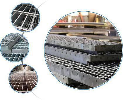 A composite image of a large picture of riveted grating and three small pictures with a press-locked grating and two welded steel gratings.